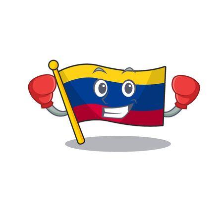 Boxing colombia flag kept in cartoon cupboard vector illustration Фото со стока - 129647864