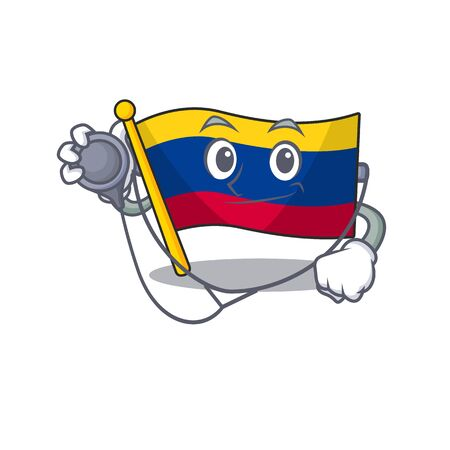 Doctor colombia flag kept in cartoon cupboard vector illustration