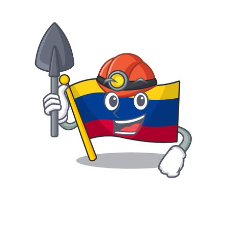Miner flag colombia mascot shaped on character vector illustration Stock Illustratie
