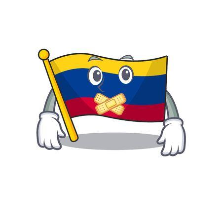 Silent colombia flag stored above mascot drawer vector illustration Çizim