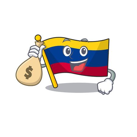 With money bag colombia flag kept in cartoon cupboard vector illustration