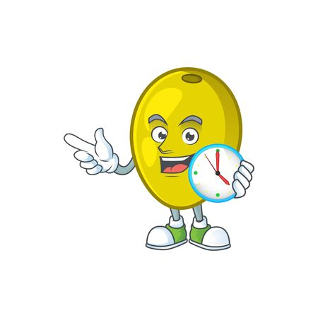 With clock olive cartoon character on white background vector illustration Ilustração