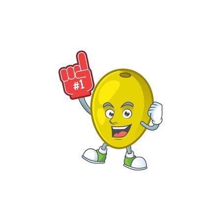 Foam finger fresh olive oil in mascot cartoon vector illustration