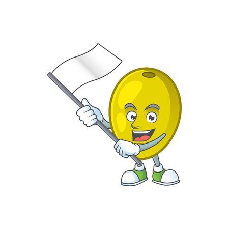 With flag fresh olive oil in mascot cartoon vector illustration