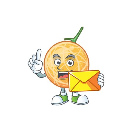 With envelope fruit cantaloupe cartoon character for food vector illustration Stock Illustratie