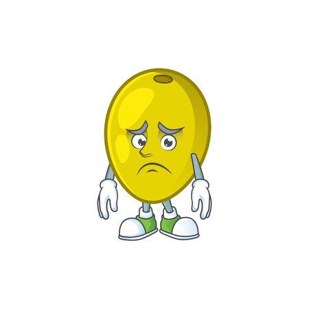 Afraid olive oil cartoon mascot for herbal vector illustration