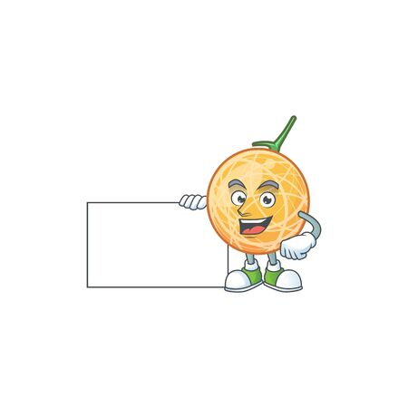 Thumbs up with board dessert cantaloupe fruit cartoon with mascot vector illustration Illustration