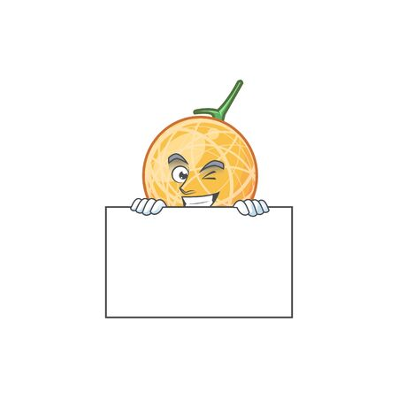 Grinning with board dessert cantaloupe fruit cartoon with mascot vector illustration