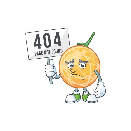 Pouting with bring board dessert cantaloupe fruit cartoon with mascot vector illustration Illustration