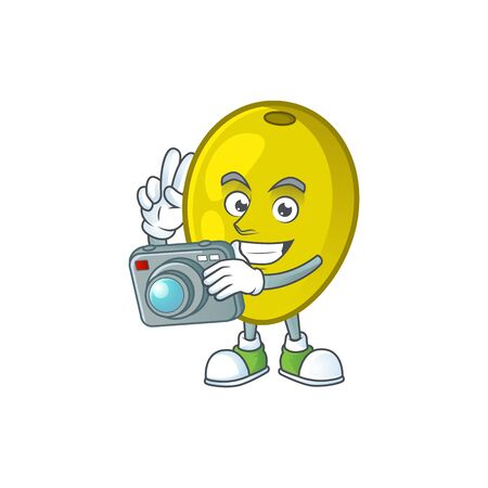 Photographer olive oil cartoon mascot for herbal vector illustration 向量圖像