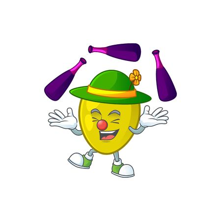 Juggling fresh olive oil in mascot cartoon vector illustration