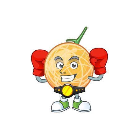 Boxing dessert cantaloupe fruit cartoon with mascot vector illustration Standard-Bild - 129648485