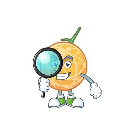 Detective fruit cantaloupe cartoon character for food vector illustration Standard-Bild - 129648523