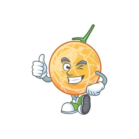 Thumbs up fruit cantaloupe cartoon character for food vector illustration Standard-Bild - 129648528