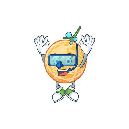 Diving fruit cantaloupe cartoon character for food vector illustration Standard-Bild - 129648531