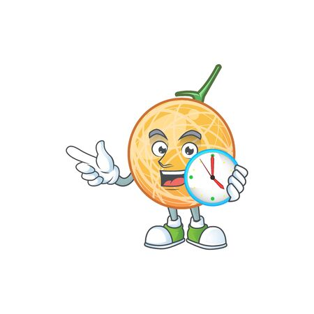 With clock fruit cantaloupe cartoon character for food vector illustration