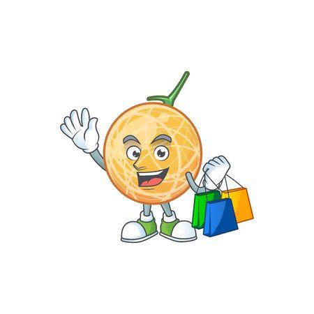 Shopping fruit cantaloupe cartoon character for food vector illustration