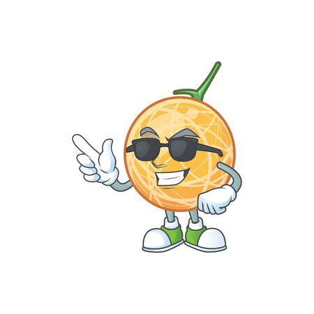 Super cool fruit cantaloupe cartoon character for food vector illustration