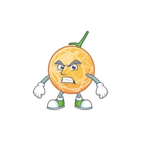 Scream fruit cantaloupe cartoon character for food vector illustration Ilustração