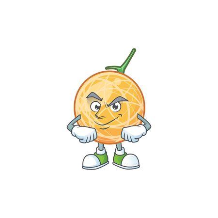 Smirking fruit cantaloupe cartoon character for food vector illustration Standard-Bild - 129648655
