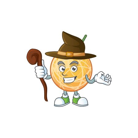 Witch healthy cantaloupe fruit in cartoon character vector illustration