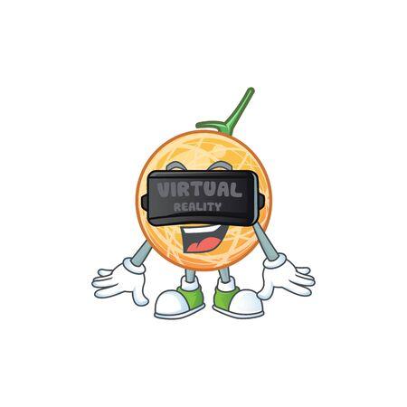 Virtual reality healthy cantaloupe fruit in cartoon character vector illustration