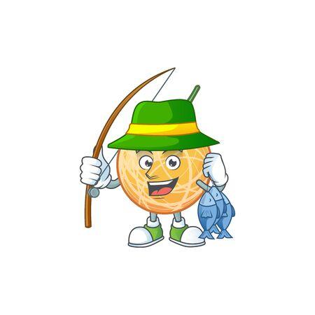 Fishing healthy cantaloupe fruit in cartoon character vector illustration