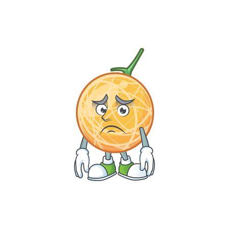 Afraid healthy cantaloupe fruit in cartoon character vector illustration Ilustração