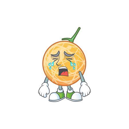Crying healthy cantaloupe fruit in cartoon character vector illustration Standard-Bild - 129648684