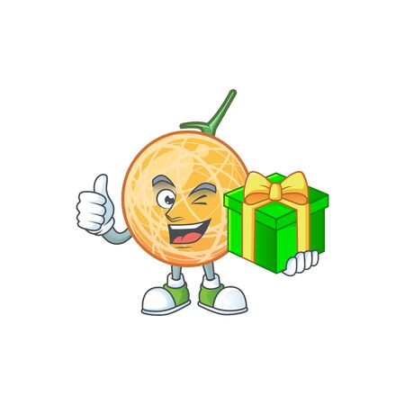 With gift healthy cantaloupe fruit in cartoon character vector illustration Standard-Bild - 129648685