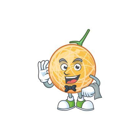 Waiter healthy cantaloupe fruit in cartoon character vector illustration