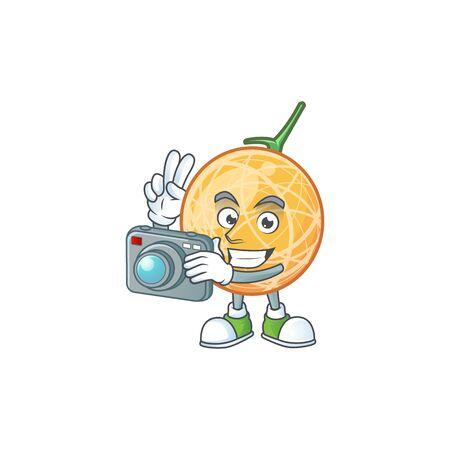 Photographer healthy cantaloupe fruit in cartoon character vector illustration