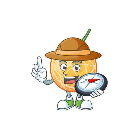 Explorer healthy cantaloupe fruit in cartoon character vector illustration