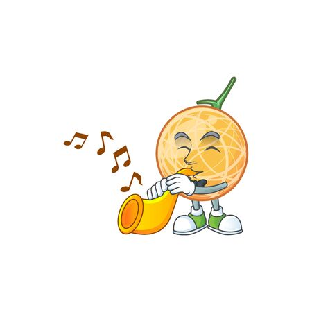 With trumpet healthy cantaloupe fruit in cartoon character vector illustration