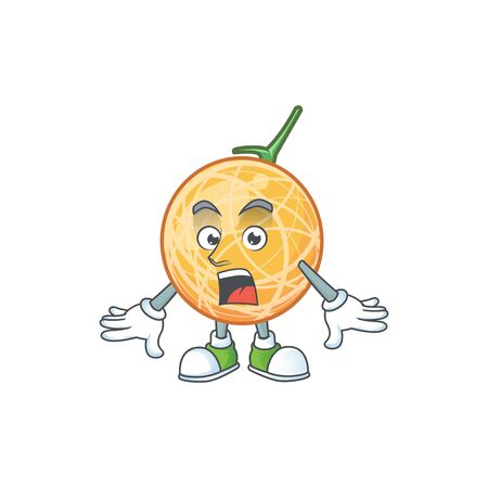 Surprised healthy cantaloupe fruit in cartoon character vector illustration