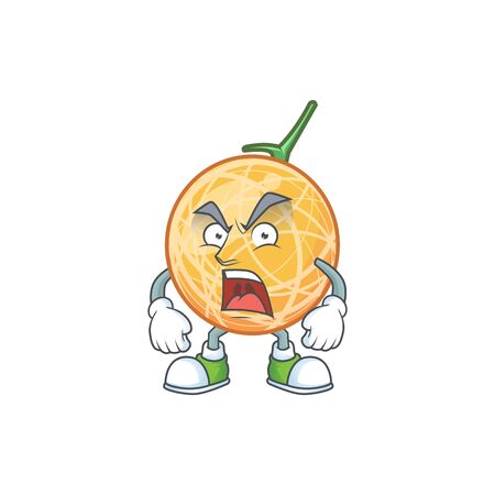 Angry healthy cantaloupe fruit in cartoon character vector illustration