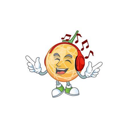 Listening music healthy cantaloupe fruit in cartoon character vector illustration Illustration