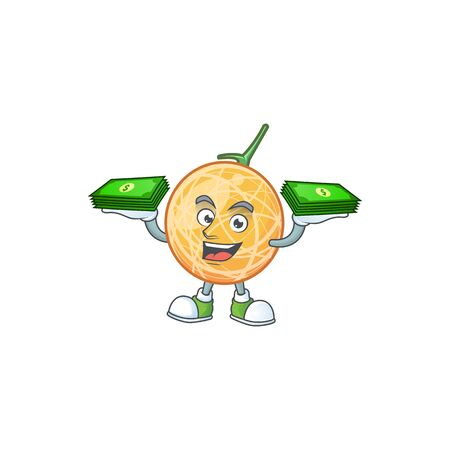 With money bag healthy cantaloupe fruit in cartoon character vector illustration Illustration