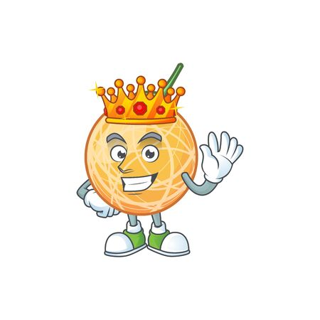 King object cantaloupe fruit for mascot character vector illustration