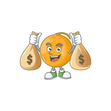 With money bag casaba melon cartoon character with mascot vector illustration Standard-Bild - 129647357
