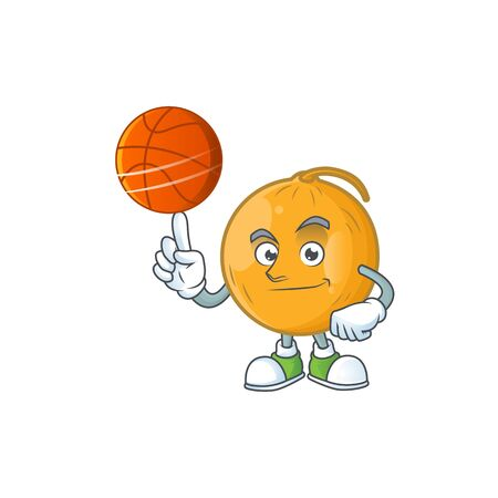 With basketball casaba melon cartoon character with mascot vector illustration Standard-Bild - 129647360
