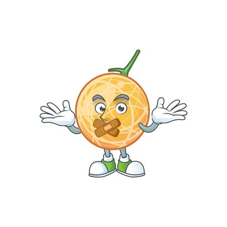 Silent object cantaloupe fruit for mascot character vector illustration