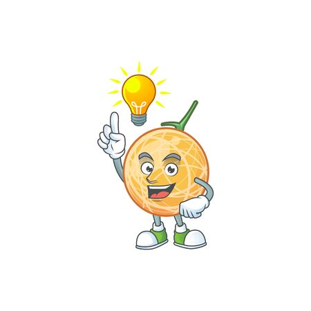 Have an idea object cantaloupe fruit for mascot character vector illustration Standard-Bild - 129647437