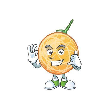 Call me object cantaloupe fruit for mascot character vector illustration