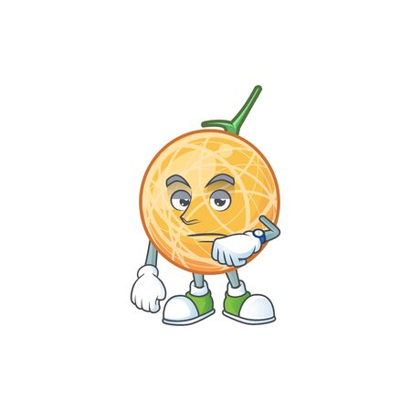 Waiting object cantaloupe fruit for mascot character vector illustration