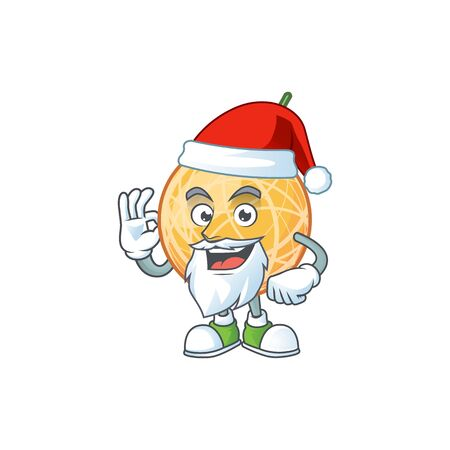 Santa object cantaloupe fruit for mascot character vector illustration Standard-Bild - 129649144