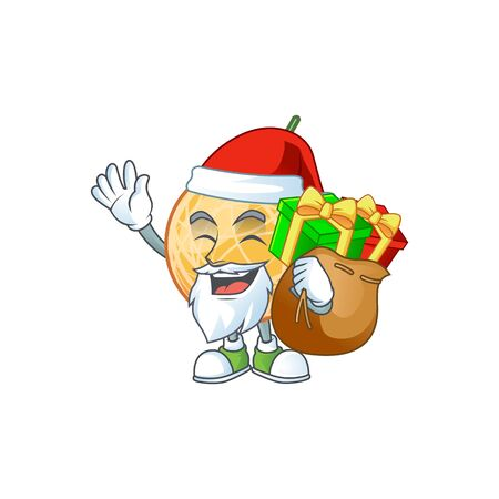 Santa with gift object cantaloupe fruit for mascot character vector illustration Standard-Bild - 129649154