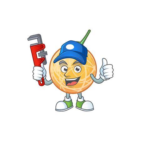 Plumber object cantaloupe fruit for mascot character vector illustration