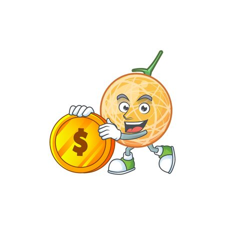 Bring coin object cantaloupe fruit for mascot character vector illustration
