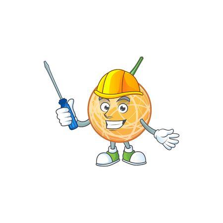 Automotive object cantaloupe fruit for mascot character vector illustration